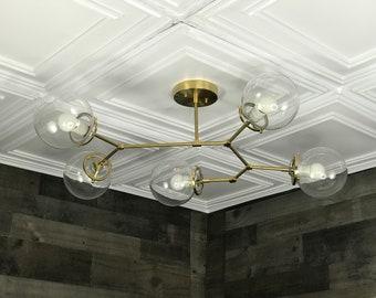 Aurelio Modern Chandelier 5 Bulb 6In Clear Globes Sputnik Mid Century Industrial Hanging Light