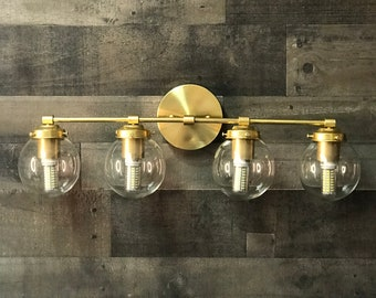 Gigil Modern Wall Sconce Vanity 4 Bulb Clear 5 Inch Globe Abstract Mid Century Bathroom Light