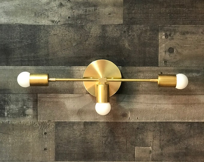 Sagesse Gold Raw Brass Modern Wall Sconce Vanity 3 Bulb Modern Mid Century Industrial Light