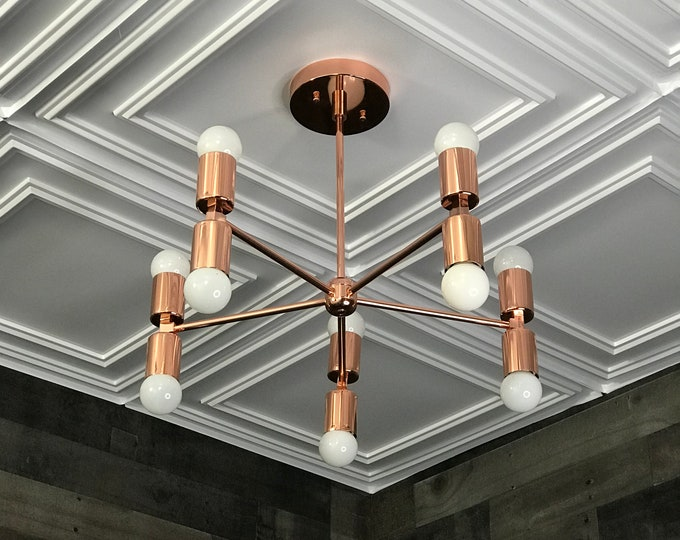Sisu Polished Copper Modern Sputnik Chandelier 5 Arm 10 Light Mid Century Industrial Hanging Ceiling Light