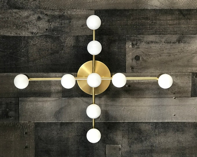 Lueur Gold Raw Brass Wall Sconce 9 Light Modern Mid Century Hallway Bathroom Vanity Art Light