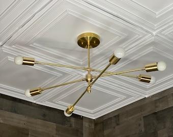 Minerva Modern 6 Bulb Chandelier Mid Century Hanging Ceiling Light
