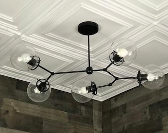 Aurelio Modern Chandelier 5 Bulb 6In Globe Sputnik Mid Century Industrial Hanging Light