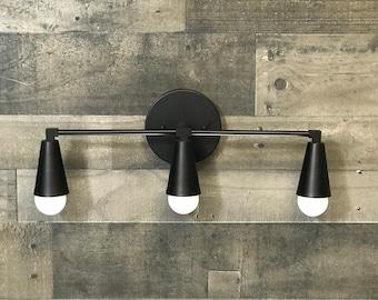 Castor Wall Sconce 3 Cone Bulb Bathroom Mid Century Modern Fixture Contemporary Vanity Light