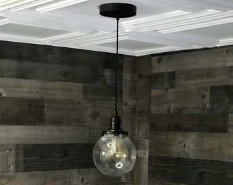 Sweven Modern Pendant Light Matte Black 6 Inch Glass Globe Hanging Light Fixtures Pendant Lamps