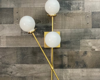 Noori Modern Wall Sconce Vanity 3 Bulb 5 Inch Globe Abstract Mid Century Bathroom Light