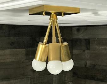 Hera Modern Chandelier Gold Raw Brass 3 Bulb Mid Century Semi Flush Light