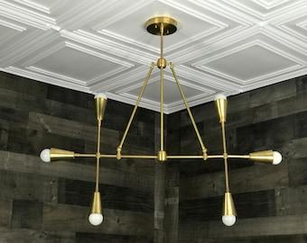 Ruhe Modern Geometric Sputnik Chandelier 6 Bulb Mid Century Industrial Light