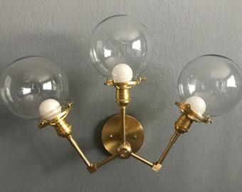 Cepheus 3 Light 6 Inch Clear Globe Wall Sconce Modern Industrial Bathroom Vanity Hallway Lighting