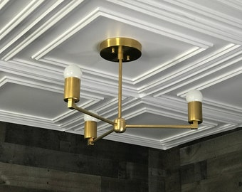 Alate Gold Raw Brass Modern Chandelier 3 Light Geometric Fixture Mid Century Industrial Ceiling Light