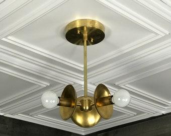 Rafia Modern Chandelier 3 Bulb Candelabra Mid Century Semi Flush Light