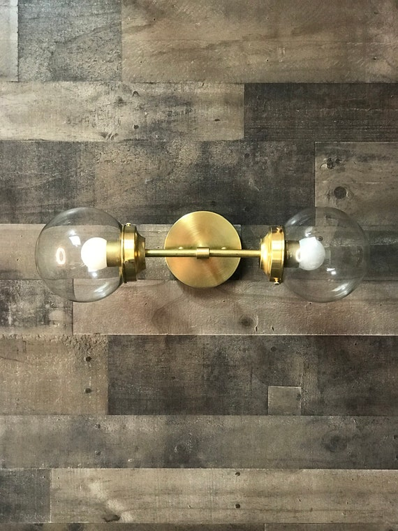 Gold Raw Brass Modern Mid Century Wall Sconce Industrial 2 Light 6 Inch Clear Globes Vanity Light