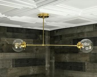 Sabutai Modern 2 Bulb 6in Globe Chandelier Mid Century Hanging Ceiling Light