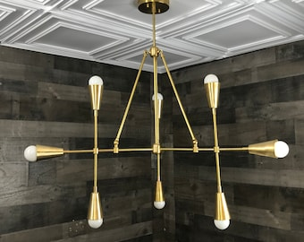 Titan Modern Geometric Sputnik Chandelier 9 Light Mid Century Industrial Light