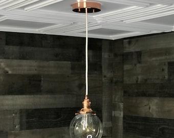 Sweven Polished Copper Modern Pendant Light 6 Inch Glass Globe Hanging Light Fixtures Pendant Lamps