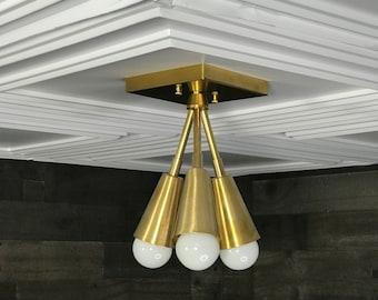 Theseus Modern Chandelier 3 Cone Bulb Mid Century Semi Flush Light