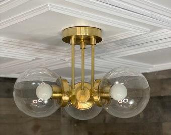 Minato Modern Semi Flush 3 Bulb 6 Inch Globe Mid Century Ceiling Light