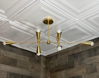 Saint Modern 8 Bulb Chandelier Mid Century Hanging Ceiling Light