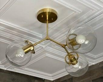 Giron Modern Sputnik Chandelier 3 Light 6 Inch Globe Mid Century Industrial Light
