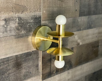 Fritz Wall Sconce Double Light 5 Inch Shades Vanity Mid Century Industrial Modern Art Light