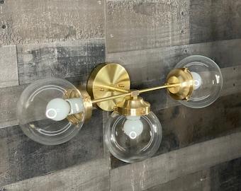 Shafaq Modern Vanity 3 Light 6in Globe Abstract Mid Century Sconce