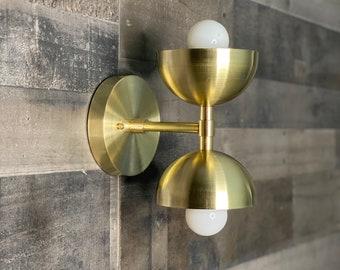 Lupin Wall Sconce Double Light Half Shades Vanity Mid Century Industrial Modern Art Light
