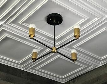 Discord Black & Brass Modern Chandelier 4 Light Geometric Fixture Mid Century Industrial Ceiling Light