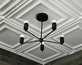 Laconic Matte Black Modern Chandelier 5 Light Geometric Fixture Mid Century Ceiling Light