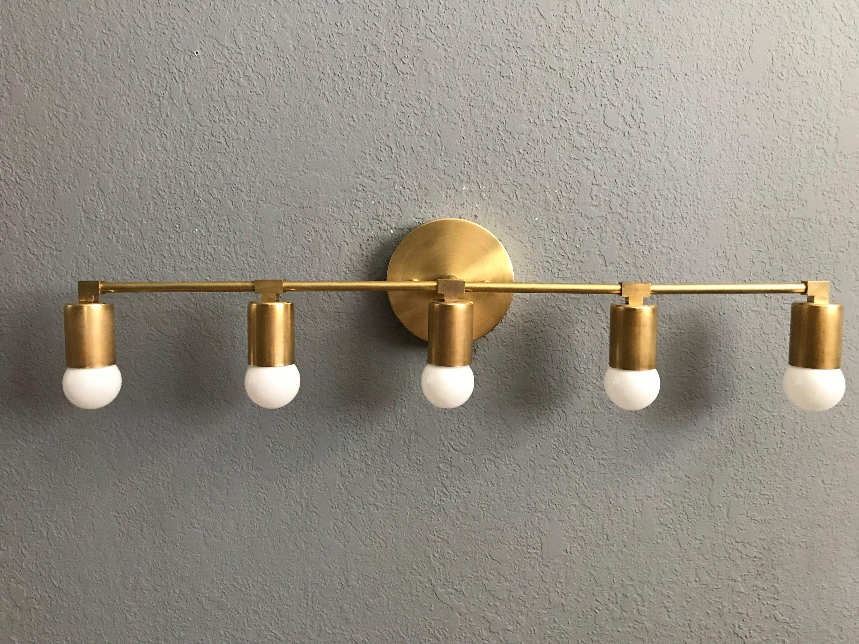 Wall Sconce Gold Raw Brass 5 Bulb Vanity Light Fixture