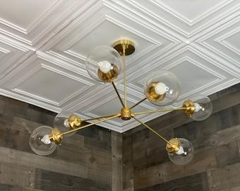 Suay Modern Chandelier 6 Bulb 6In Globe Sputnik Mid Century Industrial Hanging Light