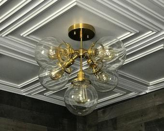 Abeille Semi Flush Raw Brass Modern Ceiling 5 Globe Light  Mid Century Hanging Lights