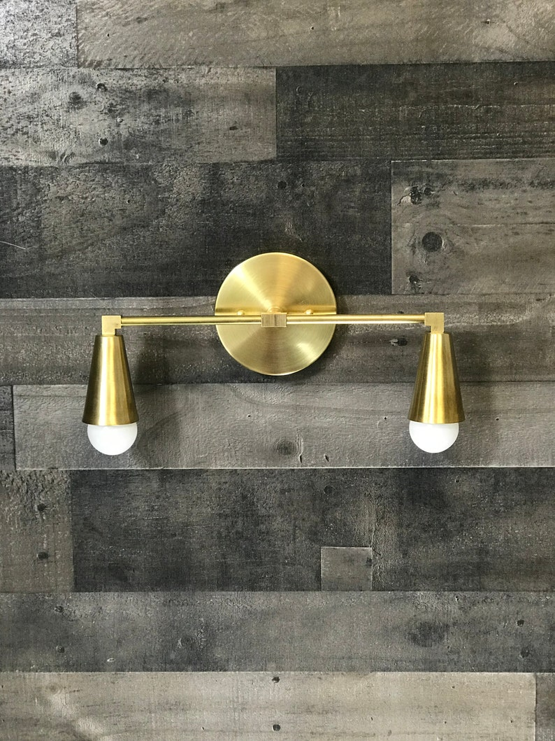 Gold Raw Brass Wall Sconce 2 Bulb Cone Fixture Bathroom Vanity Etsy