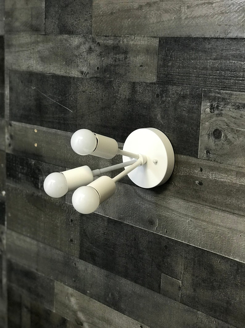 Gold Raw Brass Modern 3 Bulb Sputnik Mid Century Industrial Vanity Bathroom Light