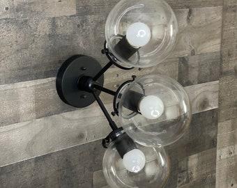 Vakker Modern Wall Sconce 3 Bulb 6 Inch Globe Mid Century Semi Flush Light