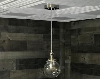 Sweven Modern Pendant Light Brushed Nickel - 6 Inch Glass Globe - Hanging Light Fixtures - Pendant Lamps