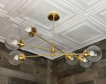 Cyrus Modern 6 Bulb 6 Globe Chandelier Mid Century Hanging Ceiling Light