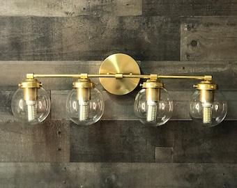 Gigil Modern Wall Sconce Vanity 4 Bulb Clear 5 Inch Globe Abstract Mid Century Bathroom Light