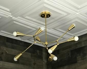 Elize Modern Geometric Sputnik Chandelier 9 Cone Light Mid Century Industrial Light
