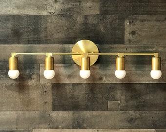 Ares Wall Sconce 5 Bulb Vanity Light Fixture Bathroom Mid Century Modern Contemporary Lighting