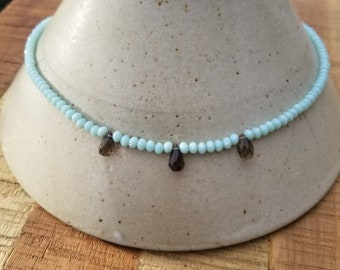 Smokey Quartz Teardrop Aqua Beaded Necklace