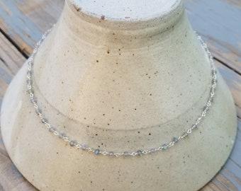 Labradorite and sterling silver choker