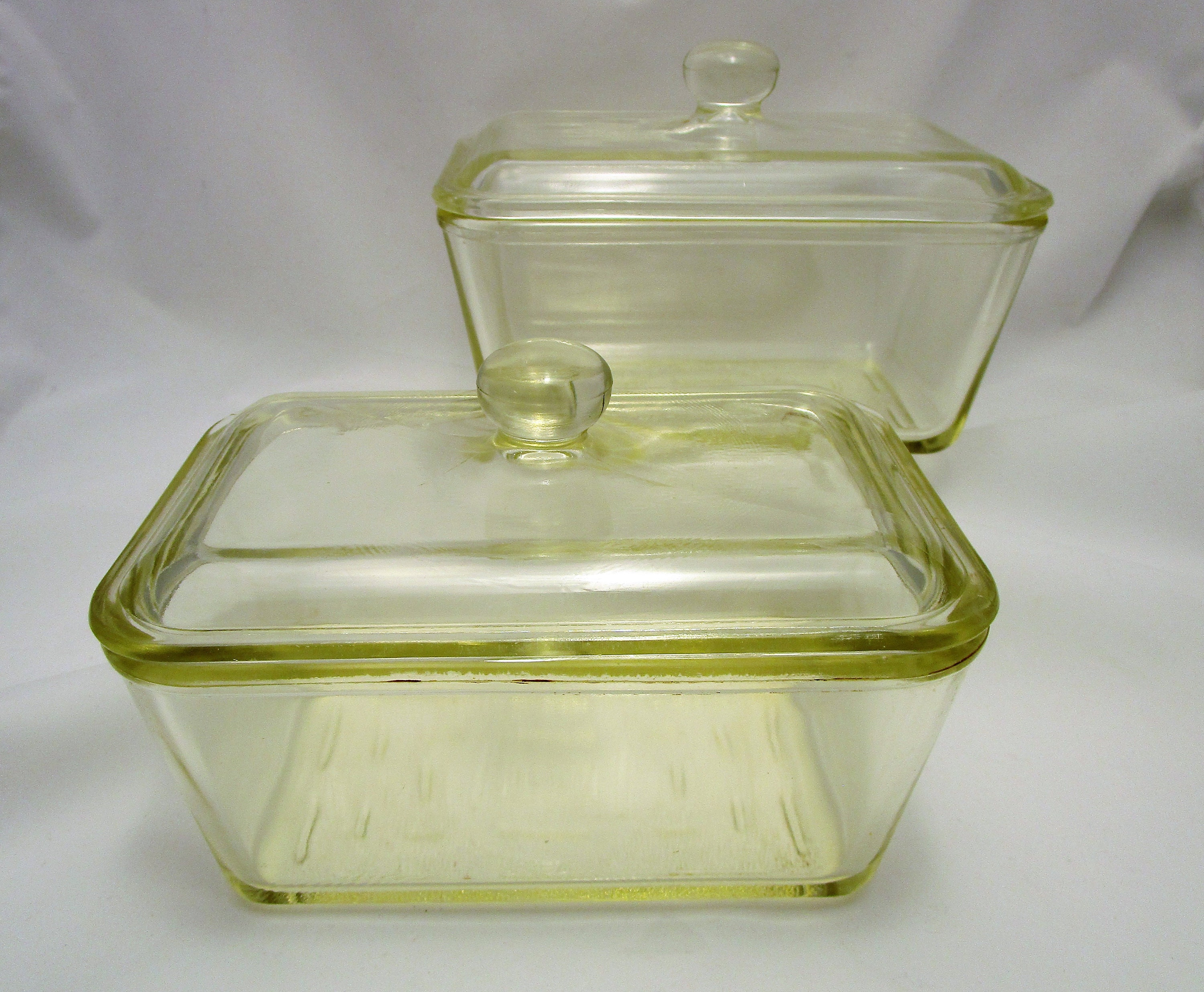 Vintage Glasbake Refrigerator Dishes Two Lidded Dishes With Etsy