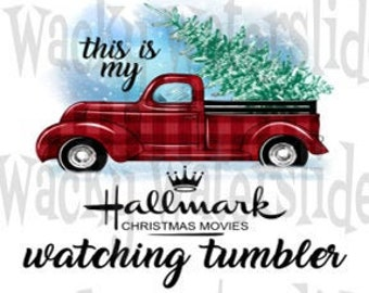Waterslide Decals for Tumblers /& Furniture Christmas Old Red Vintage Truck