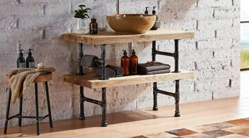 2 Floor Industrial Pipe U0026 Solid Wood Chic Table 2 Inches Thick The Planks  Free Shipping !