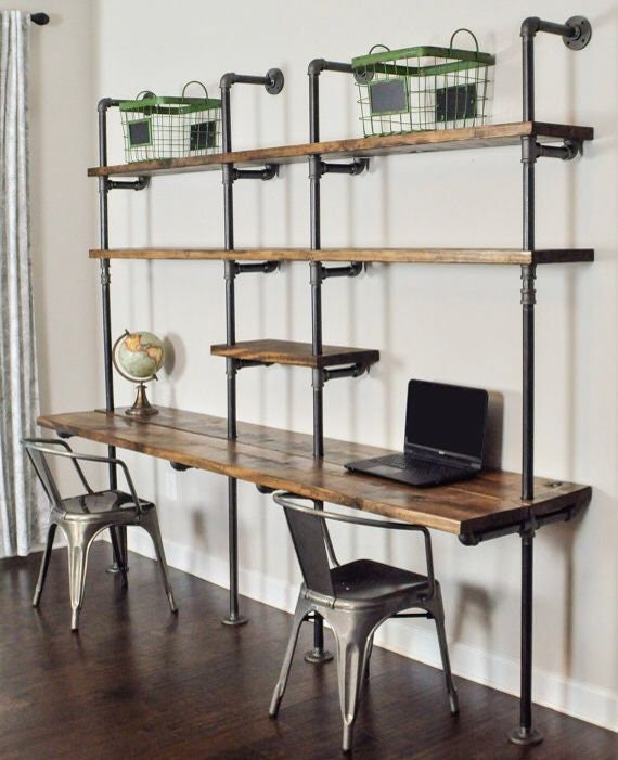 FREE SHIPPING Desk Computer Desk Office Desk Urban Wood Desk Industrial Style Pipe and Wood Desk Rustic Wood and Industrial Pipe Desk