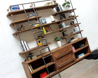 7 Tiers Industrial Wall Unit ,Solid Wood Iron Pipe Urban Style ,Wall Pipe Desk with Shelves,TV Computer Table for Home Office Free Shipping