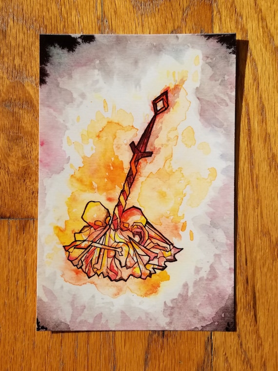 Dark Souls Bonfire Watercolor And Sumi Ink Painting With Micron Line Art Digital Illustration Print Glossy Or Matte By Angrylatte