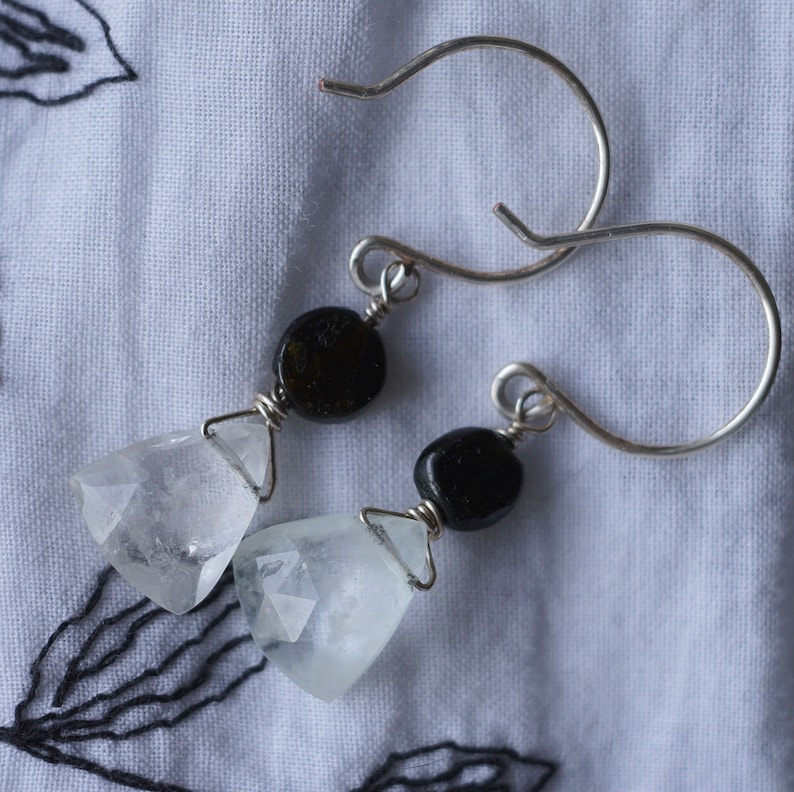 Natural white goshenite earrings with sterling siver wire. 11 image 0