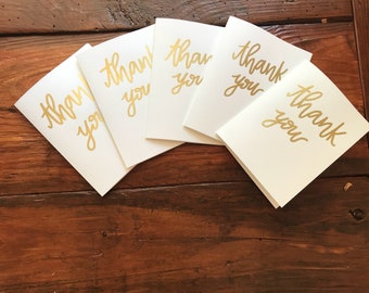 Gold Embossed Thank You Notes (Pack of 5)