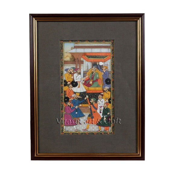 Marble Miniature Painting Of Mughal Court Indian Handicraft Etsy
